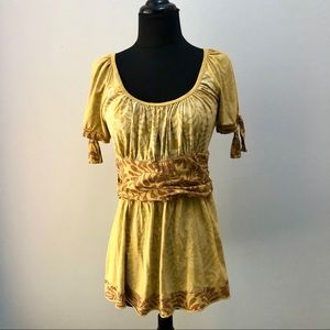 Floral Yellow Top Blouse S/M Tie Sleeves